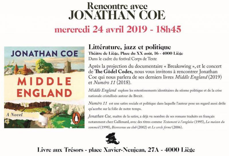 Agenda ► 10e édition du festival Littérature, Jazz et Politique : Jonathan Coe