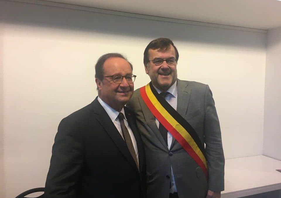 L'ancien président français François Hollande à Liège ce samedi
