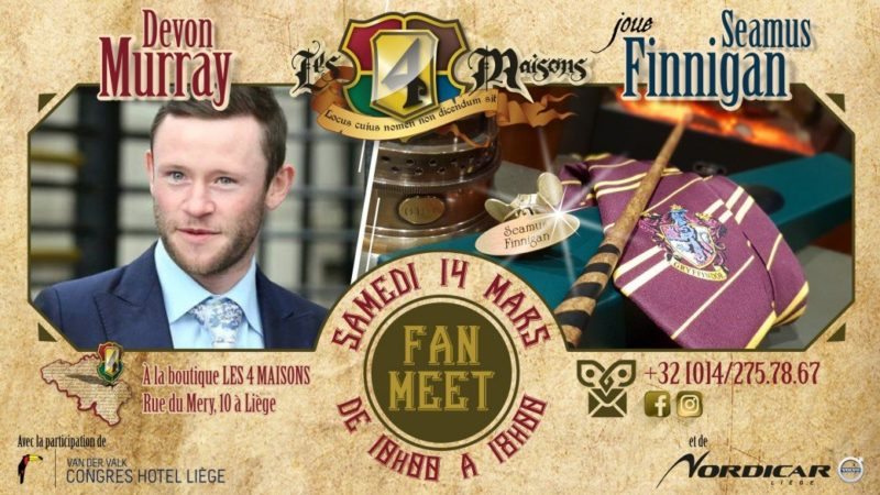 Agenda ► Fan Meet : Devon Murray (aka Seamus Finnigan) chez Les 4 Maisons