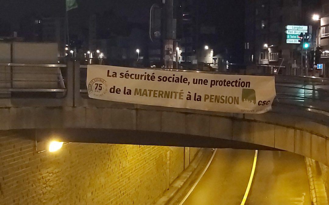 Des slogans syndicaux posés sur les ponts au centre-ville