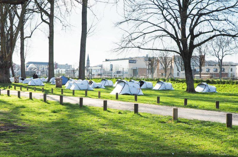 Les SDF installés dans des tentes au parc Astrid sont pour le moment épargnés par le coronavirus