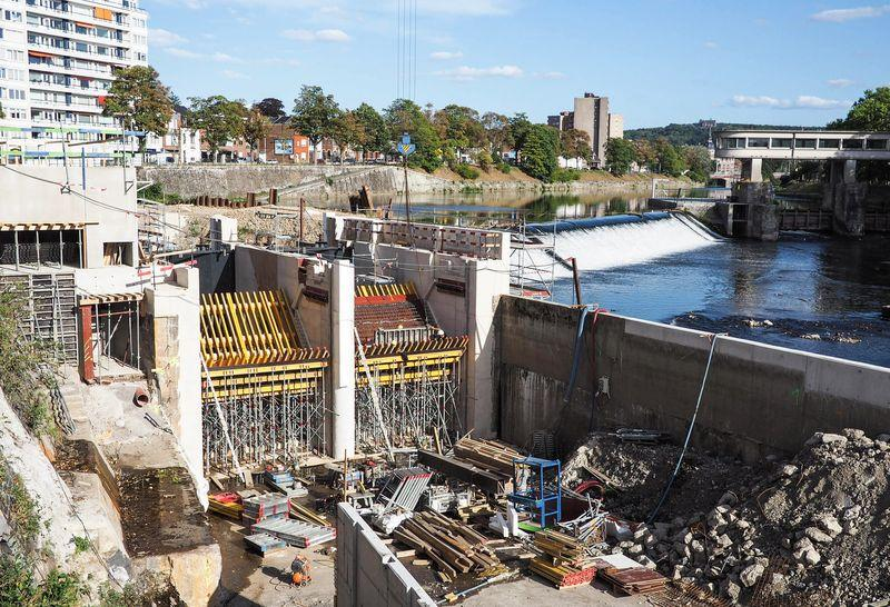 Travaux: on construit le plus grand barrage hydroélectrique de Wallonie à l'entrée de Chênée