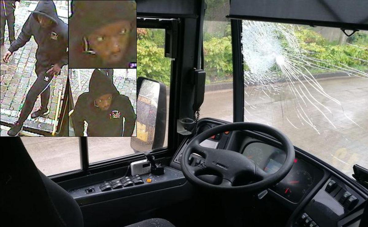 La police recherche cet homme qui a lancé un pavé dans le pare-brise de l'autobus