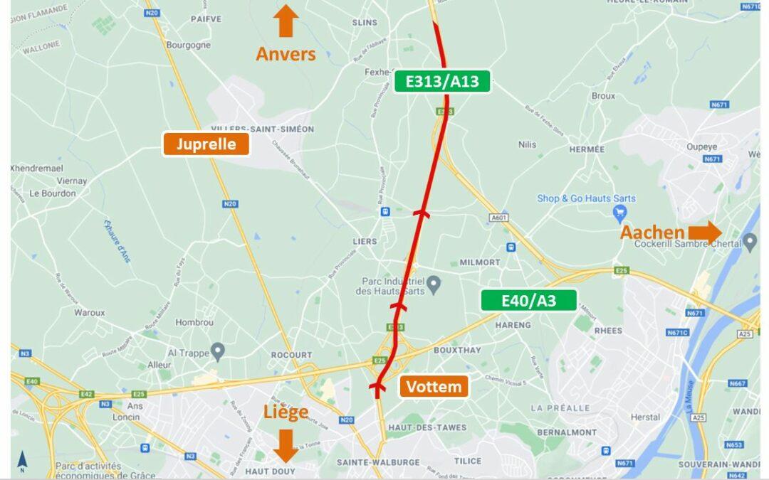 Travaux à venir sur la E313/A13 entre Vottem et Juprelle vers Anvers